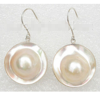 FREE shipping> >>> AAA natural rare 22mm white South Sea Mabe Pearl Earrings 925sc Dangle j7802