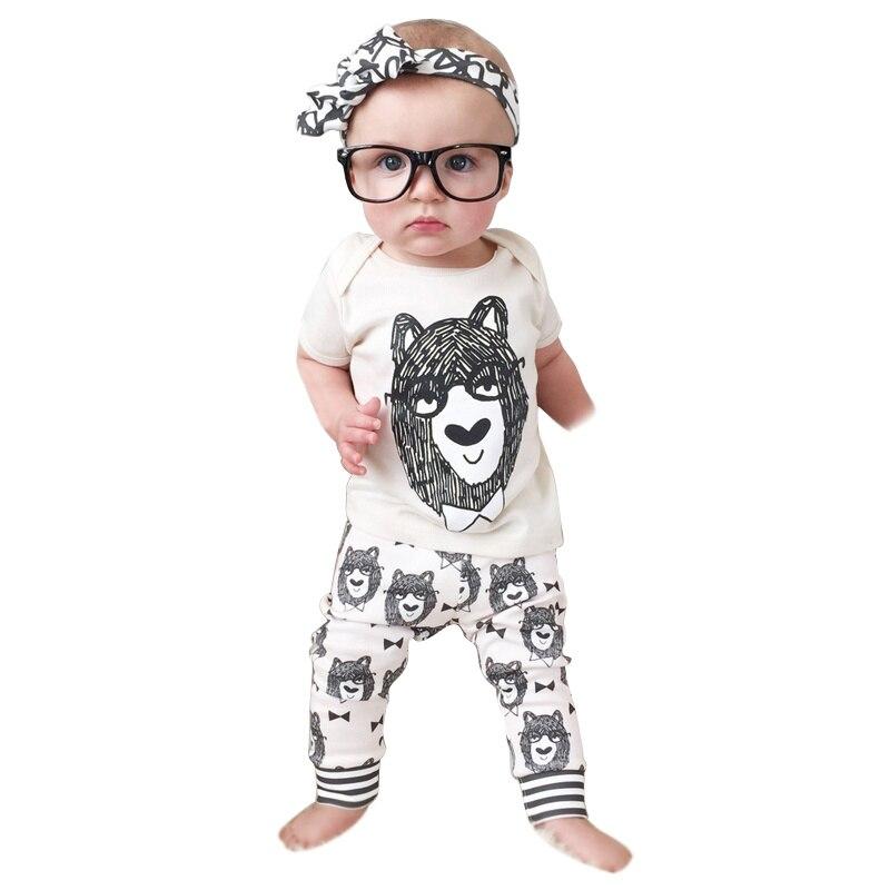 74e67b1ad43ed Bébé Vêtements D été Bébé Ensemble Unisexe Coton Nouveau-Né Enfant En Bas  Âge Infantile Bébé T-shirts Tops + Pantalon Pyjamas Bébé Outfit Vêtements