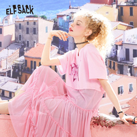 ELF SACK Summer Cotton Loose Women Dresses Fashion V Neck Letter Print Female Dress Sweet Pink Casual Woman A Line Party Dress