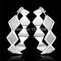 Серебряный шарм ювелирных изделий женщина геометрия большой обруч серьги длинные 5.0 см Преувеличены стиль рок стиль звезды модели горячие E464