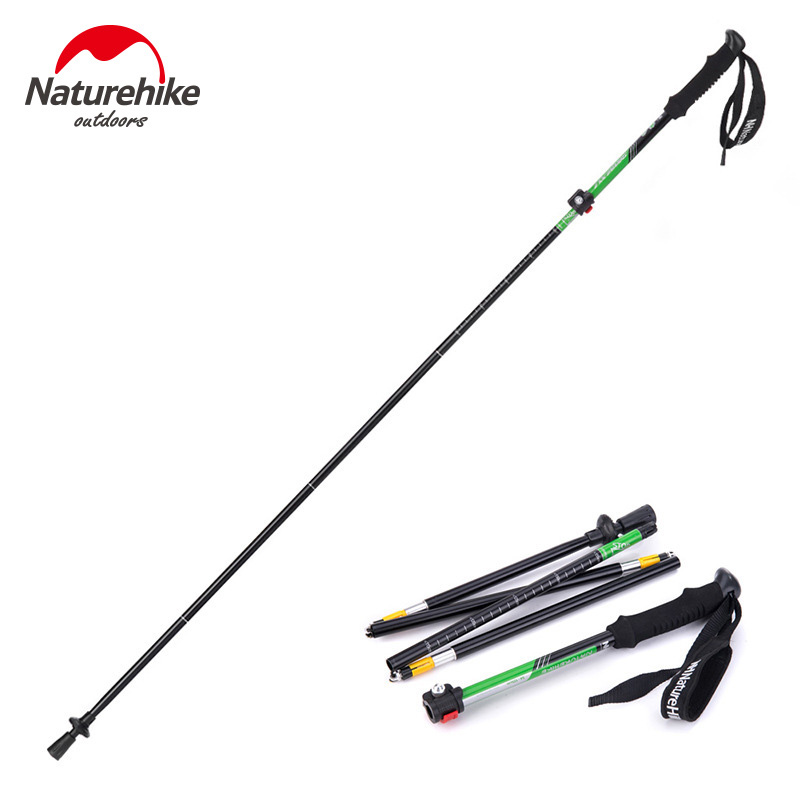 Naturehike Outdoor Walking Stick Climbing Rod Carbon fiberUltra Light 4 Section Telescopic Folding Trekking Pole Adjustable 280g 4 section telescopic mountaineering pole stick with 9 led lights compass 4 x ag13 110cm length