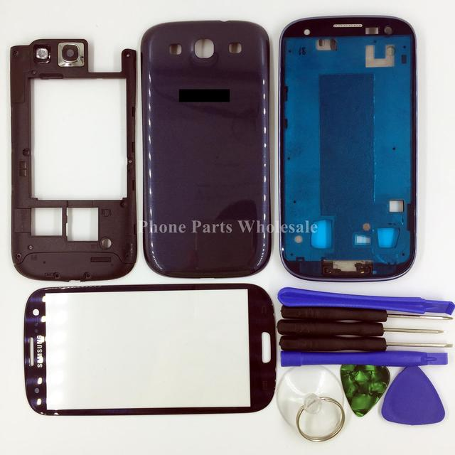 For Samsung Galaxy S3 I9300 I9305 I535 T747 T999 Full Housing Front+Middle Frame+Back Housing+Outer Glass+Home Button