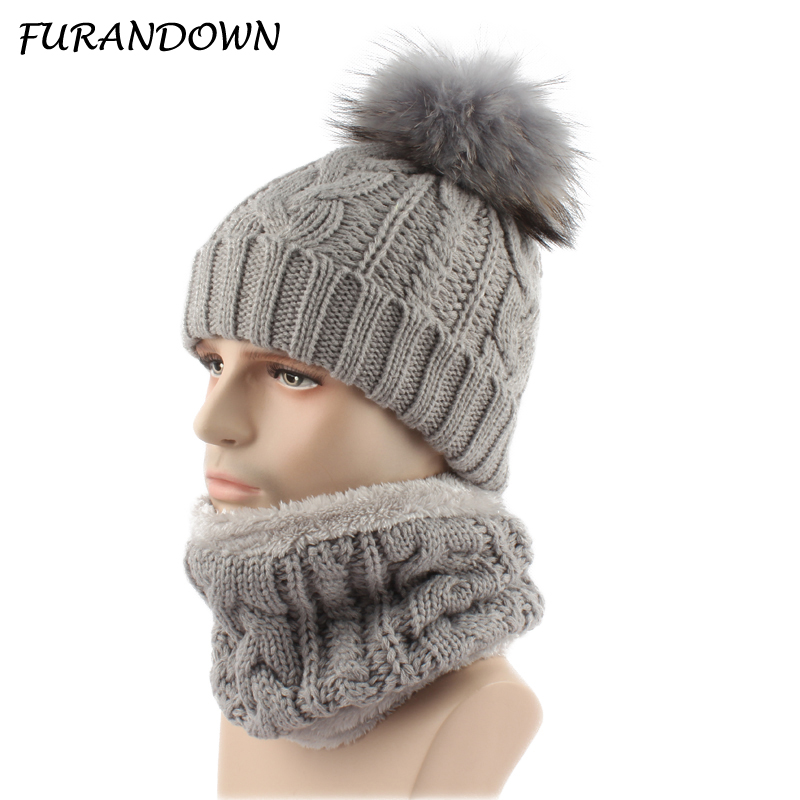 Winter Hat For Men Fleece Liner Knitted Hat Scarf Set Real Fur Pompom Beanies Cap Two Piece Set