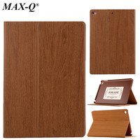 Wood Grain Flip Ultra Thin Foldable Stand PU Leather Case Smart Cover For Apple Ipad Mini