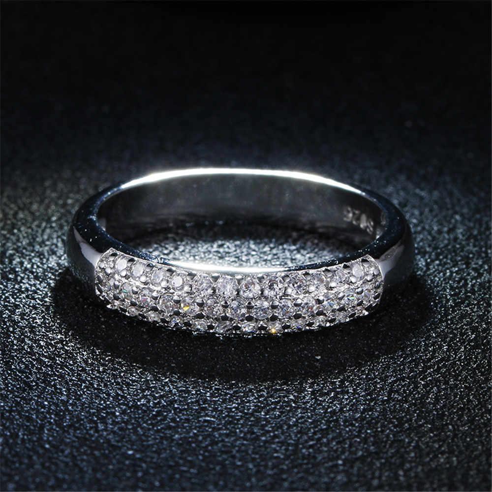 DODO cao cấp full đá Zircon AAA cho Nữ, Nhẫn Nữ 925 Sterling-Bạc-trang sức LỜI HỨA cưới anel tuyên bố anillos bán buôn DD037