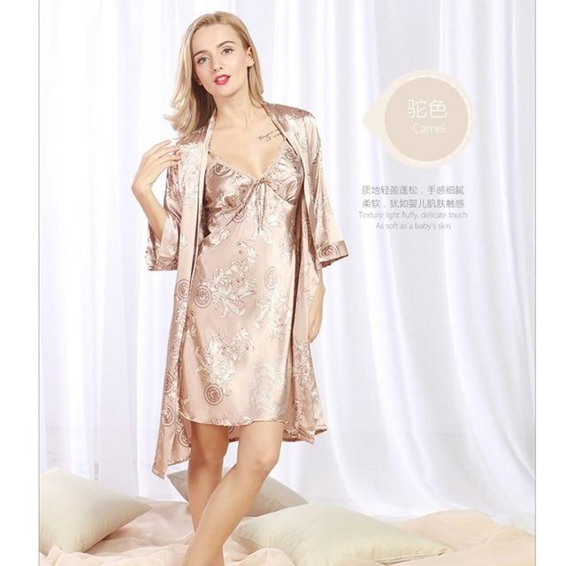 New Autumn Women Night Dress 2 Pcs Robes Bathrobes Longue Femme Robe ...