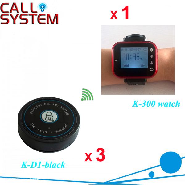 Restaurant Table Calling System 1 wrist pager 3 service buzzer for catering equipment service call bell pager system 4pcs of wrist watch receiver and 20pcs table buzzer button with single key