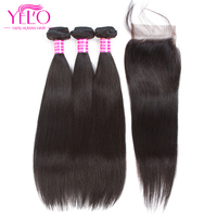 Yelo 3 Bundles with Closure Brazilian Straight Hair Free Part Swiss Lace with Baby Hair Non Remy 100% Human Hair Natural Color