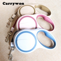 Carrywon Fashion Round Controllable Dog Leash Lead Top Pet Supplies Automatic Retracable Collar Harness Rope Leads