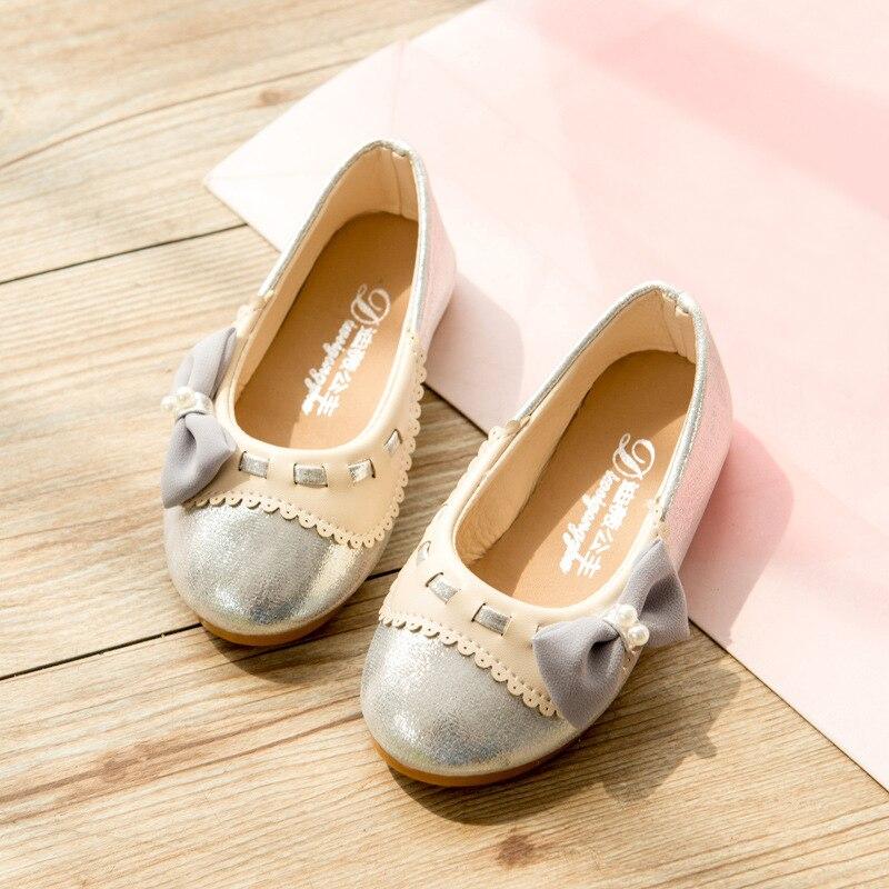 Kids Girls Shoes 2017 Forår Ny Mode Pearl Bow Prinsesse Ballet Flad Piger Blød Sole Børn Sko Piger Læder Sko Guld