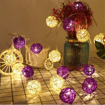 5M 28 White Purple Rattan Ball LED String Fairy Light Christmas Wedding Party Decoration Guirlande Lumineuse Exterieur Guirlande
