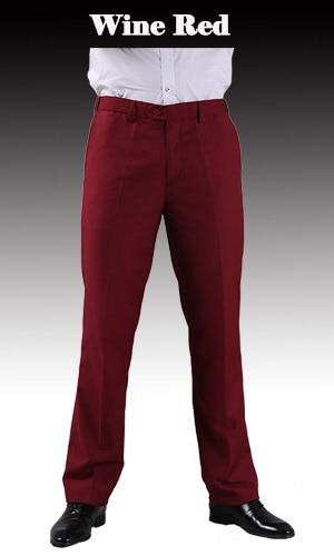 Тонкие брюки мужской формальный деловой Slim Fit Свадебный костюм брюки Diamond синий цвет красного вина черные брюки Размеры 44 плюс Размеры A37 - Цвет: Wine Red