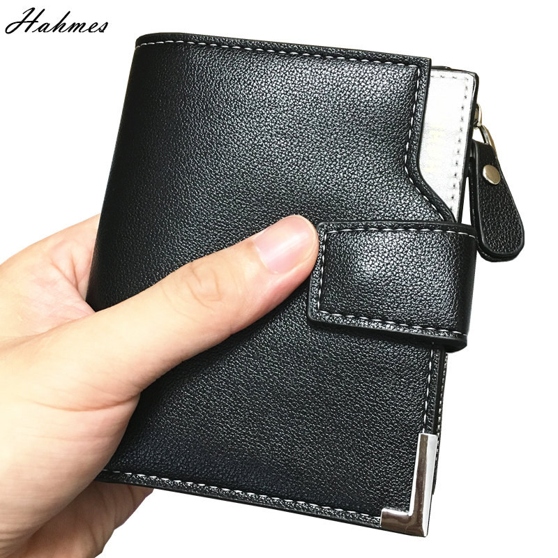 High quality men Wallet with coin holder men clutch leather zipper bag Coin Purse card holder male short wallet coin pocket new wallet short men wallets genuine leather male purse card holder wallet fashion zipper wallet coin purse pocket bag free ship