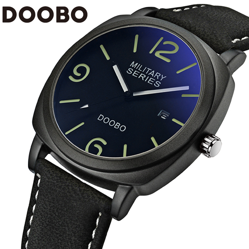 Mens Watches Top Brand Luxury Leather Strap Sports Army Military Quartz Watch Men Wrist Watch Clock relogio masculino DOOBO volta mx 642cx