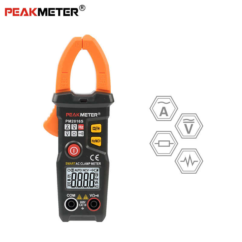 Official PEAKMETER PM2016S Smart Mini Digital AC Clamp Meter Multimeter with Resistance frequency data hold NCV tester