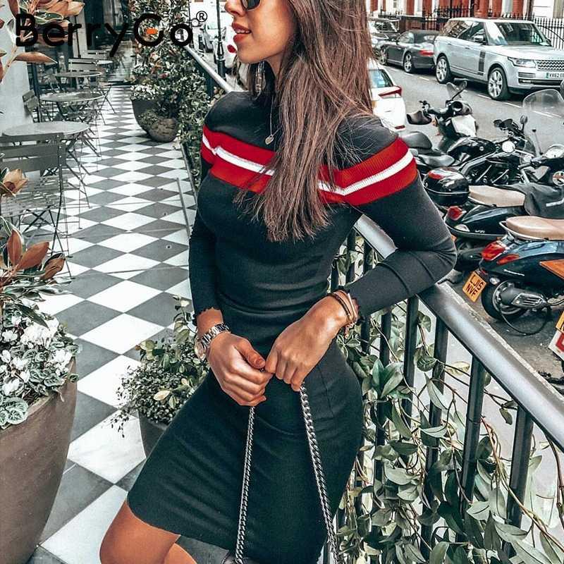 ceaea996fd8ef BerryGo Casual striped sweater knitted bodycon dress Women elegant ...
