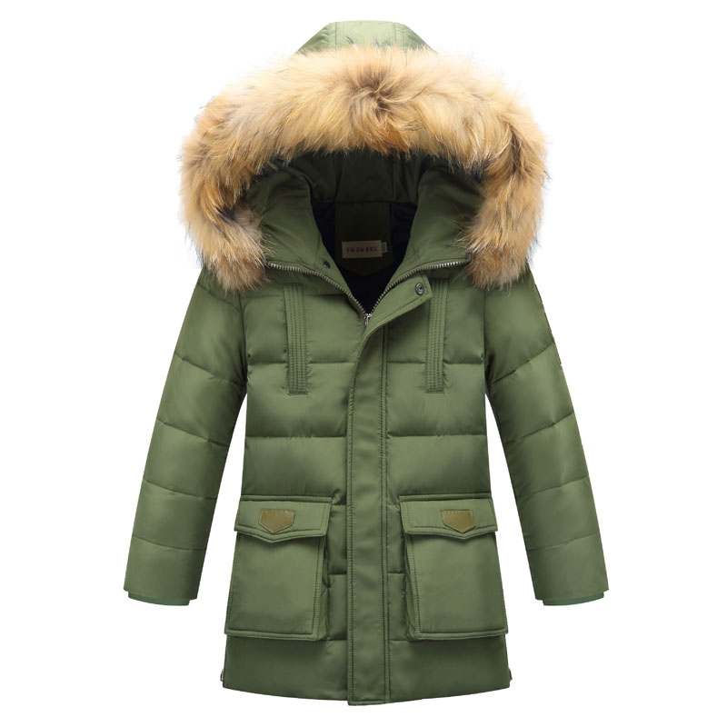 New Winter Jackets Boys White Duck Down Parkas Fur Collar Kids Thick Hooded Coats 6 14Y