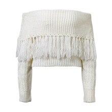 spring autumn fashion pullover slash neck casual female sweater cute solid tassel short woman