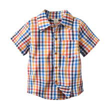 Купить с кэшбэком Kids Plaid Shirts For Boys Short Sleeve Plaid Blouses Spring Tops Blouse Outfit For Babies Casual Shirts