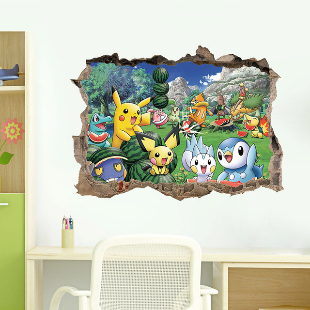 Pokemon Wall Stickers Kids Rooms Pikachu Cartoon 3D Sticker Quality  Wallpaper Bedroom Living Room Poster Home