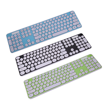 2.4G Wireless Combo Mouse + 2.4G Wireless Keyboard with Round Keycap keyboard mouse set for computer laptop Black Green Blue