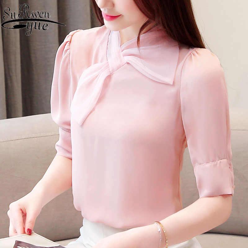Blusas mujer de moda 2019 womens tops and blouses ladies tops white shirts Chiffon blouse Solid korean fashion clothing 2457 50