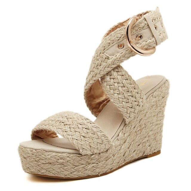 2016 лето мода стро горячая секси женские туфли на высоких каблуках открытым носком кнопку соломы кос клинья сандалии платформы