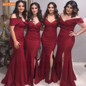 Image 1 - אופנה בורגונדי בת ים שושבינה שמלות ארוך 2020 זול מסיבת חתונת שמלות אלסטי סאטן לקיר אורך תחרות נשים שמלה