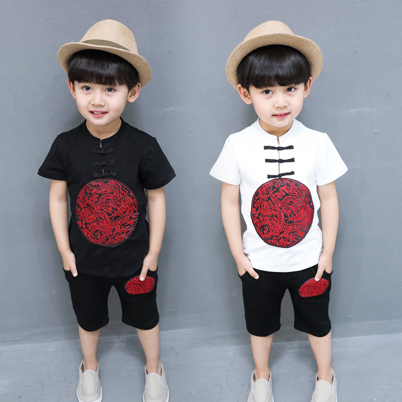 2PCS Suit Baby Boy Clothes Children Summer Toddler Boys Clothing set Cartoon 2018 New Kids Fashion Cotton Chinese style цены