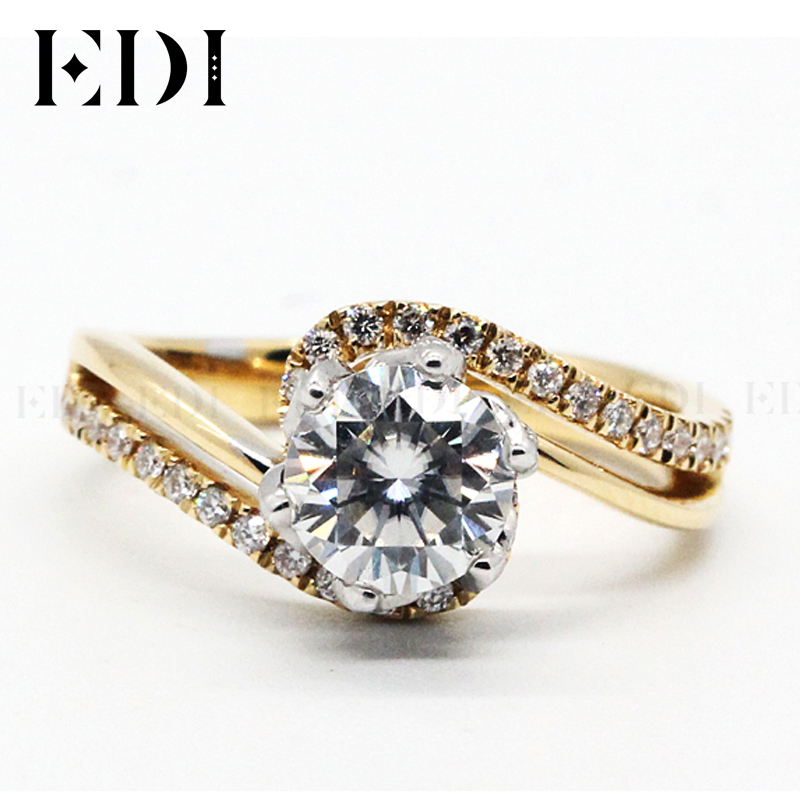 EDI Customized Jewelry Beauty and The Beast Rose Design Engagement Ring 18K Solid Yellow Gold 1CT DEF Moissanite Diamond Accents genuine 18k 750 rose gold 1ct hearts arrows test positive lab grown moissanite diamond engagement pendant necklace chain women