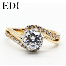 EDI Customized Jewelry Beauty and The Beast Rose Design Engagement Ring 18K Solid Yellow Gold 1CT DEF Moissanite Diamond Accents