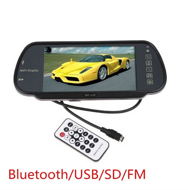 800*480 7 Inch TFT LCD MP5 Bluetooth Car Rear View Monitor Vehicle Parking Rearview Mirror Monitor SD/USB For Reverse Camera