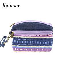 Hot Ethnic Canvas Kids Coin Purse Women Clutch Key Card Double Zipper Purses Children Coin Wallet For Girls Monedero Mujer KB028(China)