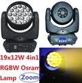 Sale OSRAM RGBW 4-In-1 19x12W Zoom LED Moving Head Beam Wash Light Stage Effect DJ DMX Disco Luces Discoteca Strobe Party Lights