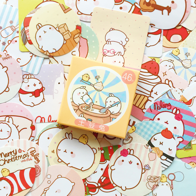 46 Pcs/pack Cute Molang Label Stickers Decorative Stationery Stickers Scrapbooking DIY Stickers S18