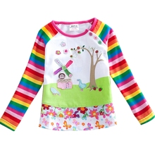 girls t-shirts girls clothes with flowers/tree printed a fairy tale house embroidery autumn/spring striped long t shirt F1411