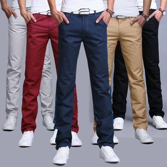 9 цвета лето осень мода бизнес или повседневный стиль брюки мужчины тонкие прямые случайные длинные брюки моды многоцветной мужчин брюки