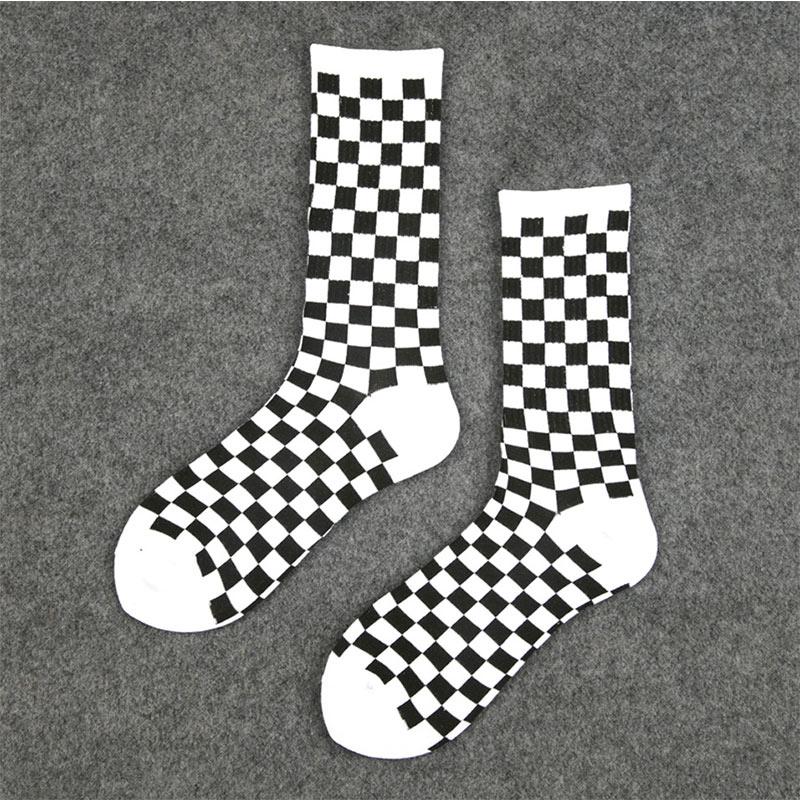 Image 3 - 1 pair of Harajuku casual men's socks plaid color trend socks national wind creative sports men's cotton socks-in Men's Socks from Underwear & Sleepwears