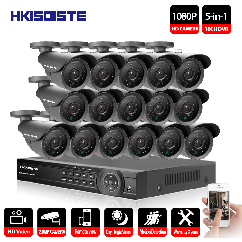 16CH AHD DVR 16Pcs 2.0MP 1080P Camera Security Surveillance CCTV System Outdoor Waterproof IR Night Vision HD Kit 16CH AHD 1080P eyedea 16ch video dvr recorder hd 1080p bullet black outdoor cmos night vision business cctv security camera surveillance system
