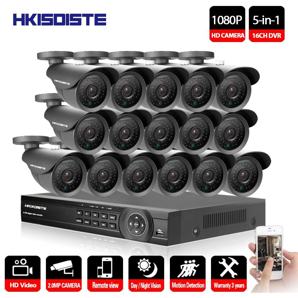16CH AHD DVR 16 pcs 2.0MP 1080 p Caméra de Sécurité de Surveillance CCTV Système Extérieur Étanche IR Night Vision HD Kit 16CH AHD 1080 p