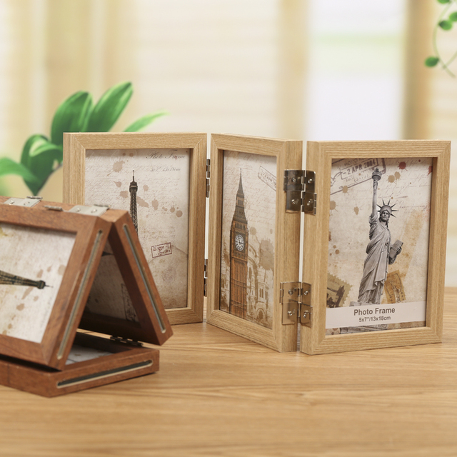 7 inch 3 picture frame modern hinged folding triple photo frames 2