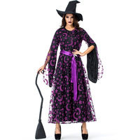 Purple Stars Moon Magic Witch Brilliantly Bewitched Costume Spellbound Amethyst Pentagram Costumes Halloween Uniforms Cosplay