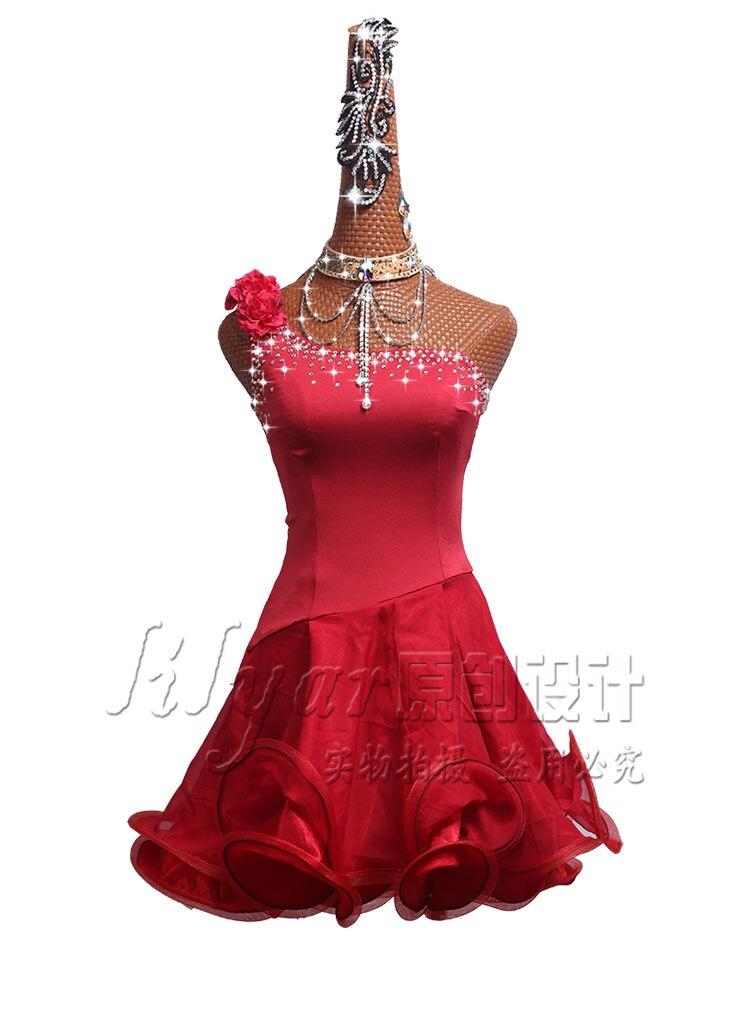 Women Red Shining Rhinestones Latin Dance Dress Custom Made Tango Rumba Samba Dress Cha cha Latin