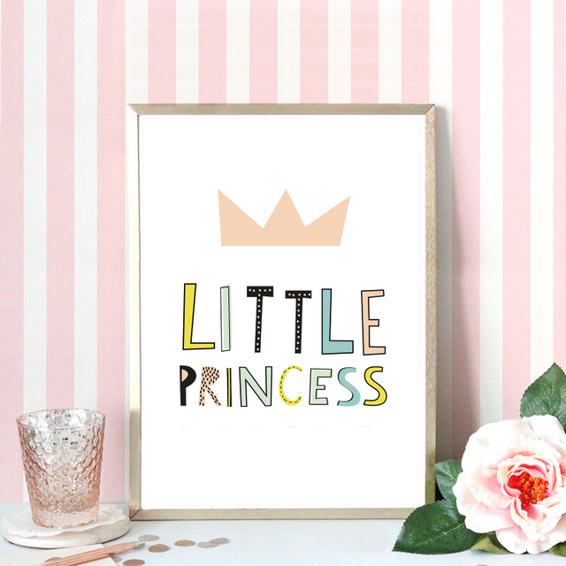 bande dessin e petite princesse devis toile art print affiche mur photos pour fille chambre. Black Bedroom Furniture Sets. Home Design Ideas