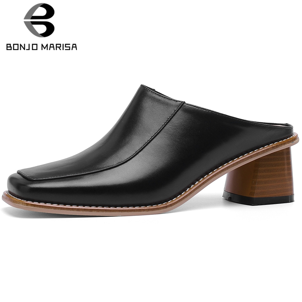 BONJOMARISA 2019 Large Size 33-40 Square Toe Genuine Leather Pumps Woman Shoes Chunky Heels Lady Mules Shoes Woman PumpsBONJOMARISA 2019 Large Size 33-40 Square Toe Genuine Leather Pumps Woman Shoes Chunky Heels Lady Mules Shoes Woman Pumps