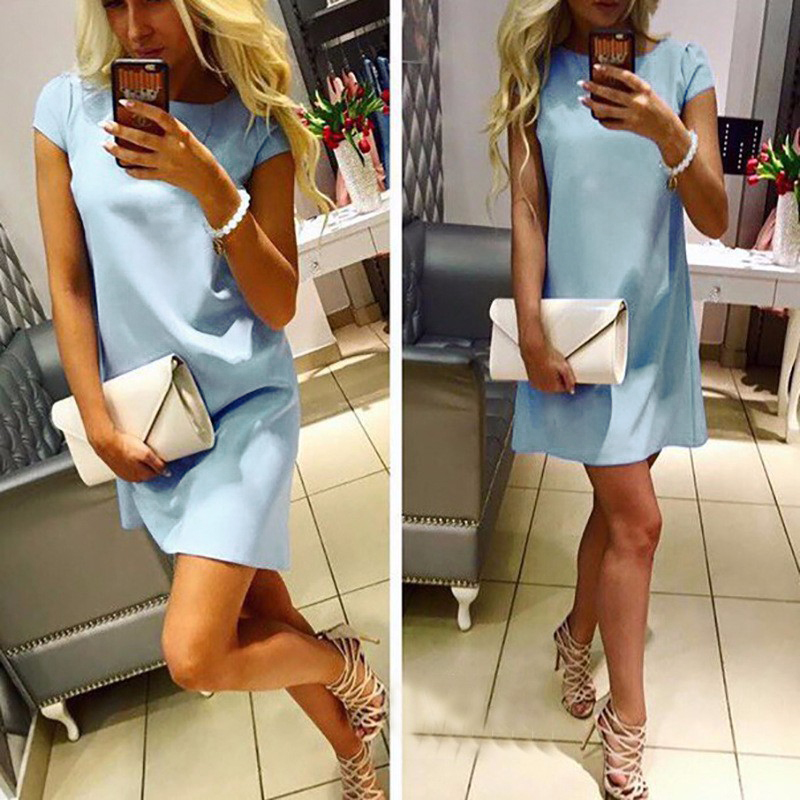 2017 Dresses Summer Fashion Women O-neck Sexy Short Sleeve Loose Dress Casual Elegant Blue Women Dresses Clothes Pink LJ5144Y