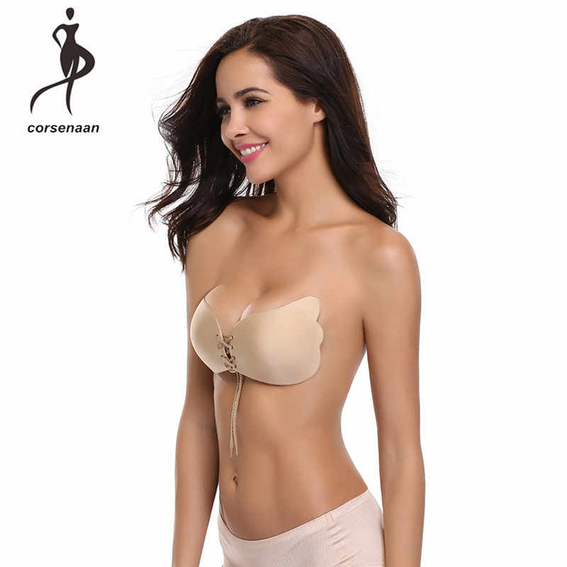 fa545d1dfd Womens Reusable Invisible Magic Strapless Self Adhesive Push-up Bra Stick  On Gel Backless Silicone