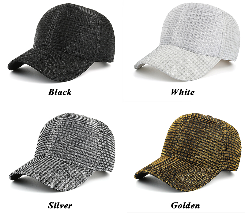 Womens Stylish Jacquard Baseball Cap - Black Cap, White Cap, Silver Cap and Golden Cap Color Options