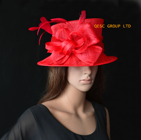 d9bdfe7ac23 Wholesale NEW 4 colours Red Church Hat Formal Dress Sinamay Hat Fascinator  for Kentucky Derby