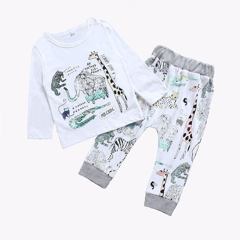 Adorable 2pcs Set Infant Baby Boy Casual Animal Print Outfits Cotton T-shirt Tops+Long Pants Trousers Clothes Set